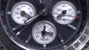 Extreme macro detail of swiss made watch shot with macro lens luxury male accessory for business. Detail of a luxury stock video footage