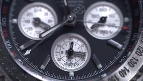 Extreme macro detail of swiss made watch shot with macro lens luxury male accessory for business. Detail of a luxury Royalty Free Stock Photo