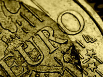 Extreme macro photo of Euro coin. Royalty Free Stock Photo