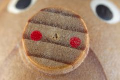 Extreme macro photo of small wooden pig nose Stock Photo