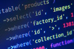 Extreme macro of php code on blue background, pixels royalty free stock photography