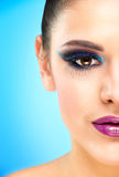 Extreme makeup. Beautiful half face Royalty Free Stock Image