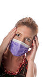 Extreme measures. Caucasian woman in his 40s protecting herself from pandemic virus Stock Photo