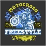 Extreme motocross. Emblem, t-shirt design. Extreme motocross. Emblem, t-shirt design on dark background Stock Photos