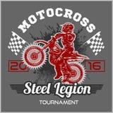 Extreme motocross. Emblem, t-shirt design. Extreme motocross. Emblem, t-shirt design on dark background Royalty Free Stock Photos