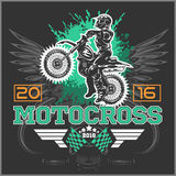 Extreme motocross. Emblem, t-shirt design. Stock Photography