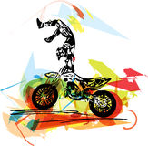 Extreme motocross racer by motorcycle Royalty Free Stock Photos
