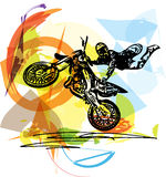 Extreme motocross racer by motorcycle. On abstract background Stock Photos