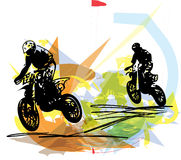 Extreme motocross racer by motorcycle Royalty Free Stock Images