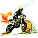 Extreme motocross racer by motorcycle. On abstract background Royalty Free Stock Photos