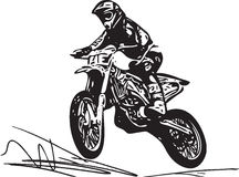 Extreme motocross racer by motorcycle Royalty Free Stock Photo