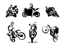 Extreme Motorbike Rider set Stock Photo