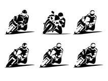 Extreme Motorbike Rider set Stock Photos