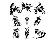 Extreme motorbike vector set. 9x, motocross enduro offroad motorcycles stock illustration