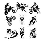 Extreme motorbike vector set. 9x, motocross enduro offroad motorcycles Stock Photography