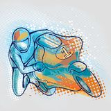 Extreme motorcycle racer on graphics background, vector image vector illustration