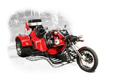 Extreme Motorcycle with three wheels. On a light background Royalty Free Stock Images
