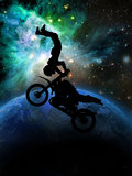Extreme motorcycle trick. Motorcyclist executing an extreme trick on his motorcycle royalty free illustration