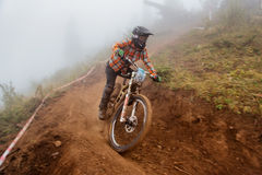Extreme mountain bike competition stock photography