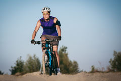 Extreme mountain bike sport man riding outdoors Royalty Free Stock Photography