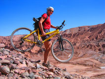Extreme Mountain Biking. Off road biking in Chile royalty free stock images