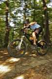 Extreme MTB cyclist. Mountain bike racer off road driving in forest Stock Photo
