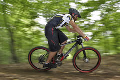 Extreme MTB cyclist. Mountain bike racer off road driving in forest Royalty Free Stock Photography