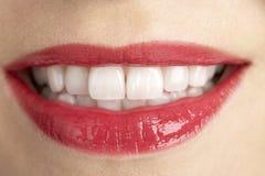 Extreme Nahaufnahme der Lippen der mittleren gealterten Frau Lizenzfreie Stockfotos