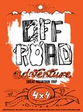 Extreme off-road poater. Extreme off-road adventure. Vintage style. Unique hand drawn lettering. Vertical vector illustration in white, orange and black colours royalty free illustration
