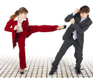 Extreme office quarrel men and women Royalty Free Stock Photo