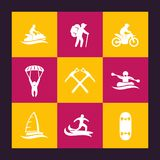 Extreme outdoor activities icons set Royalty Free Stock Photo