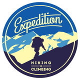 Extreme outdoor adventure badge. High mountains illustration. Climbing, trekking, hiking, mountaineering and other extreme activities logo template Stock Image