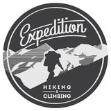 Extreme outdoor adventure badge. High mountains illustration. Climbing, trekking, hiking, mountaineering and other extreme activities logo template vector illustration