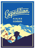 Extreme outdoor adventure poster. High mountains illustration. Climbing, trekking, hiking, mountaineering and other extreme activities Stock Photos