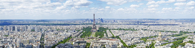 Extreme panorama view over paris Stock Photos