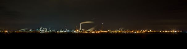 Huge panorama of a factory in Germany at night stock photos