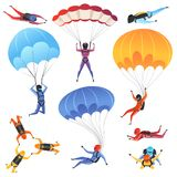 Extreme parachute sport. Adrenaline characters jumping paragliding and skydiving fly aerodynamics vector picture. Isolated. Skydiver jumping, parachuting sport vector illustration