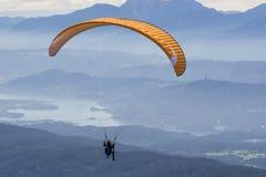 Extreme paragliding in high mountains Alps (Carinthia, Austria) Royalty Free Stock Image