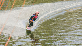 Extreme Park, Kiev, Ukraine, 07 may 2017 - a little girl to ride a Wakeboard. Photo of grain processing Royalty Free Stock Images