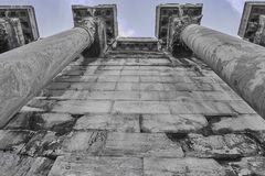 Extreme perspective of ancient columns. Extreme perspective of Hadrian's library columns, Athens Greece Royalty Free Stock Photos