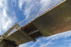 Extreme perspective of the Brooklyn Bridge's underside. The Brooklyn Bridge as seen from directly underneath with a beautiful sky as a backdrop overhead. Image Stock Photos