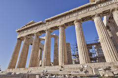 Extreme perspective of Parthenon ancient temple Royalty Free Stock Photography