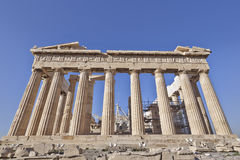 Extreme perspective of Parthenon ancient temple Royalty Free Stock Photos