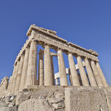 Extreme perspective of Parthenon ancient temple Stock Photography