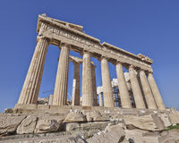 Extreme perspective of Parthenon ancient temple Royalty Free Stock Photo