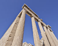 Extreme perspective, unusual view of ancient greek temple Stock Image