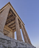Extreme perspective, unusual view of ancient greek temple Royalty Free Stock Image