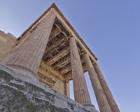 Extreme perspective, unusual view of ancient greek temple Stock Photo