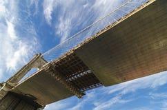 Extreme Perspektive der Unterseite der Brooklyn-Brücke. Stockfotos