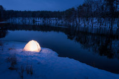 Extreme place to sleep in the winter Stock Images